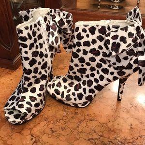 Kate Young animal print peep toe booties
